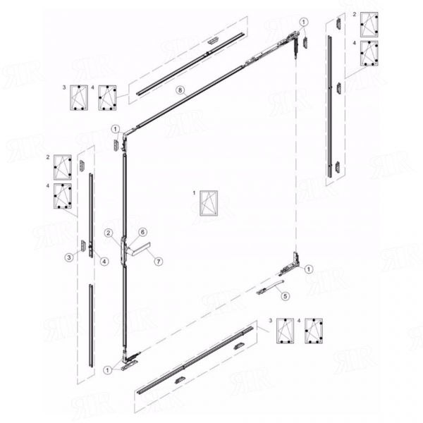 Комплект поворотно-откидная фурнитура  300 V130 Schuco 277002